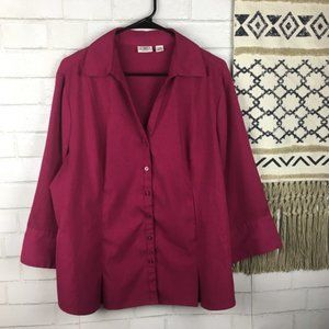 Cato Quarter Sleeve Button Down Career Top 18/20